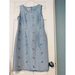 sky blue midi dress & green bee embroidery (12)